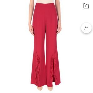 NWT Saloni Red Ruffled Trousers - Size 0